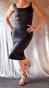 Black Leather-Look Wiggle Dress - Choose Your Size