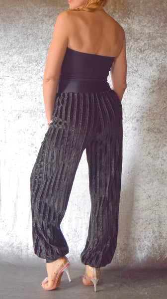 Pinstripe Ribbon Black Velvet Harem Pants - One of a Kind
