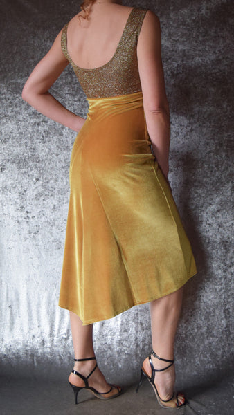 Glittery Iridescent Gold Sparkle High Neckline Top with Gold Velvet Godet Back Dress - Choose Your Size
