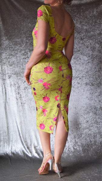 Chartreuse and Pink Floral Wiggle Dress with Short Sleeves - Choose Your Size