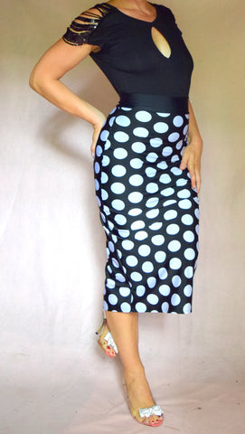 Black and White Large Polka Dot Pencil Skirt with Back Slit - Choose Your Size