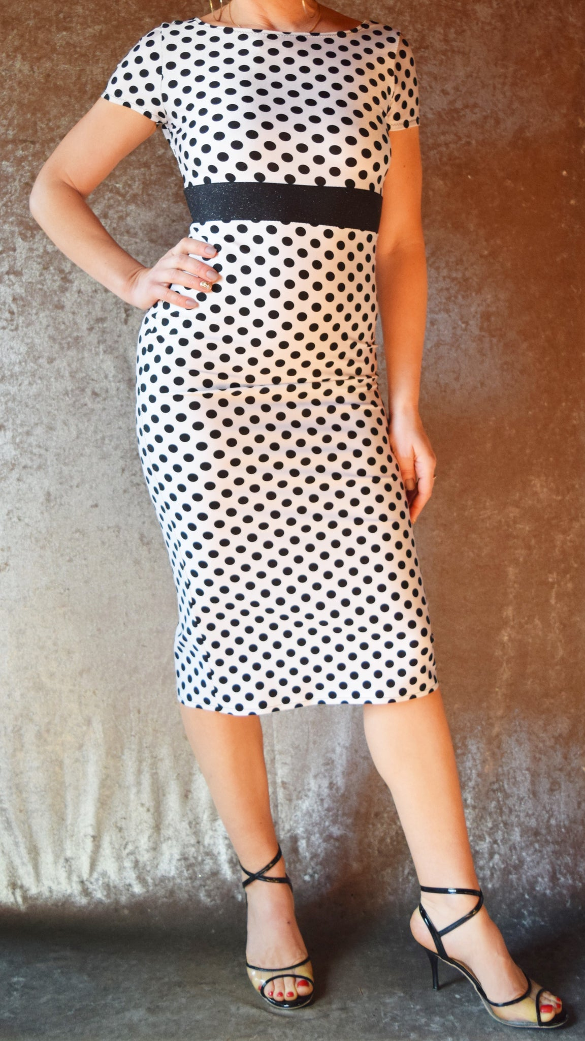 White Polka Dot High Neck Wiggle Dress with Cap Sleeves - Choose Your Size
