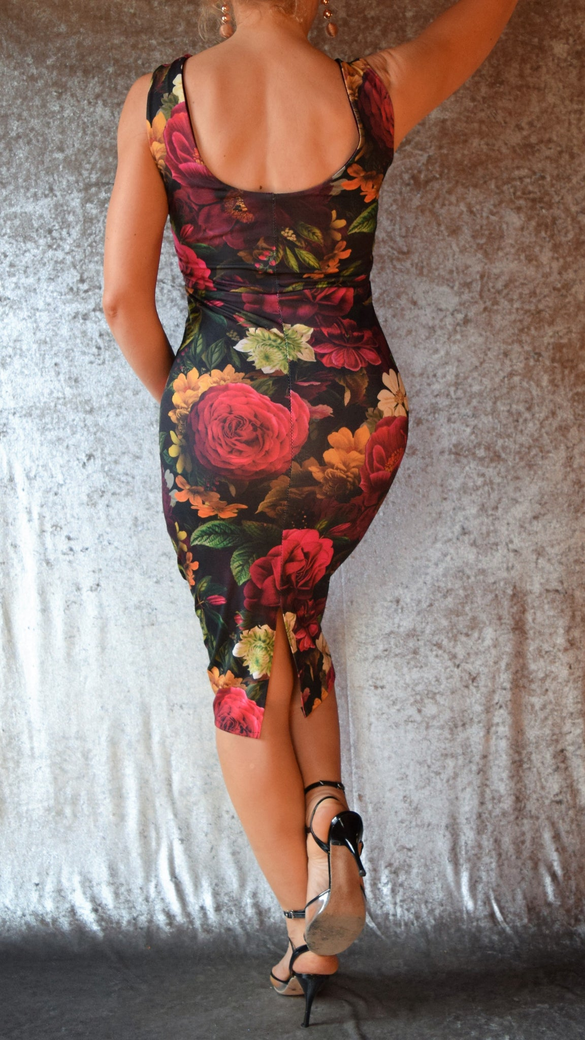 Mystic Night Moody Floral High Neckline Wiggle Dress - Choose Your Size and Color
