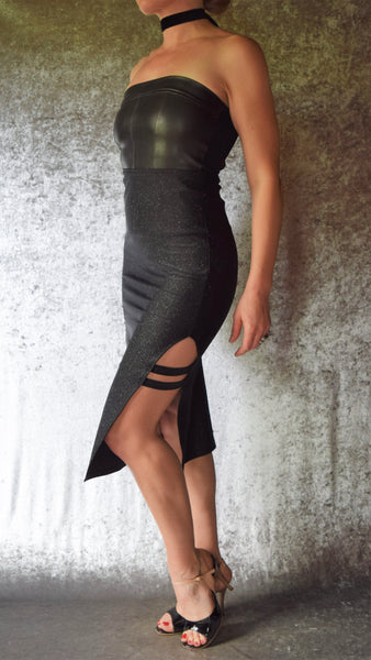 Glitter Spandex Pencil Skirt with Strappy Side Slit - Choose Your Size