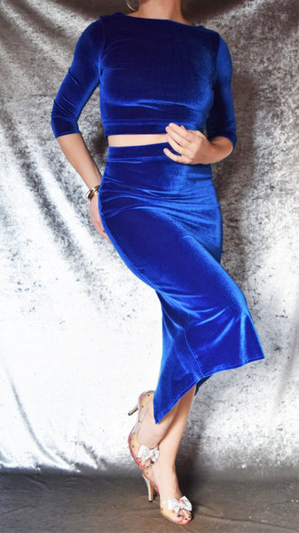 Velvet Dress Set with 3/4 Sleeves and Ruched Skirt - Choose Your Size and Color