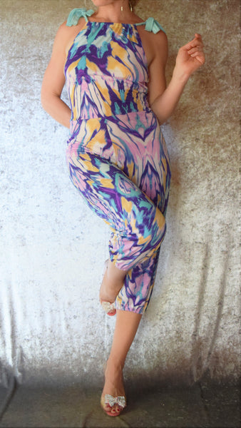Marbleized Halter Jumpsuit - Maleva Lounge - One-of-a-Kind Size Small
