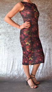 Mystic Night Moody Floral High Neckline Wiggle Dress (Shown in Wine) - Choose Your Size and Color