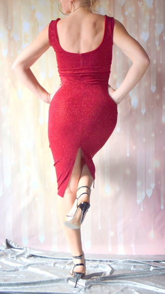 Garnet Red Glitter Slinky Scoop Neck Sleeveless Wiggle Dress - Choose Your Size