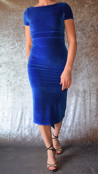 High Neckline Velvet Dress with Fishtail and Cap Sleeves (Shown in Royal Blue) - Choose Your Size and Color