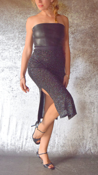Black Glitter Slinky Skirt with Side Slits - Choose Your Size
