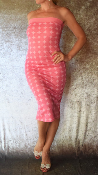 Pink Polka Dot Strapless Dress - Choose Your Size
