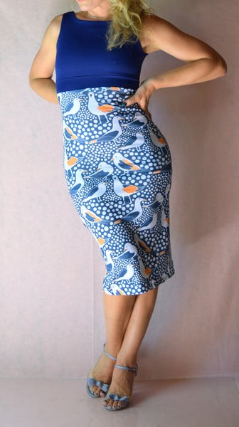 Dotted Sea Gulls High Neckline Wiggle Dress - Choose Your Size