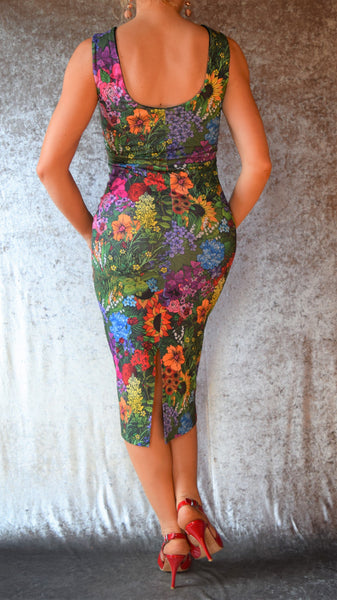 Rainbow Garden High Neckline Wiggle Dress - Choose Your Size and Pattern