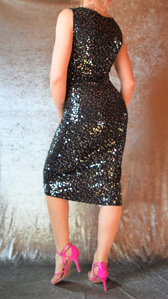 Black Knit Dress with Silver Sequins and Side Slit - Choose Your Size