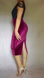 Velvet Pencil Skirt with Back Slit - Choose Your Color and Size