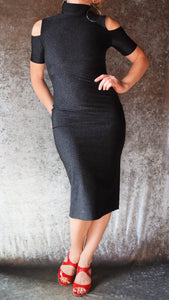 Black Glitter Spandex Cold Shoulder Turtle Neck Wiggle Dress - Choose Your Size