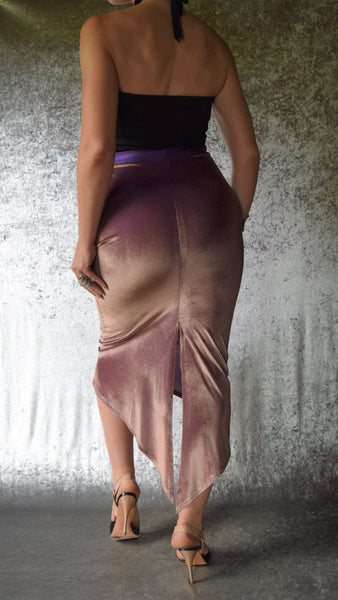 Bronzed Violet Duochrome Velvet Fishtail Skirt with Back Slit - Choose Your Size