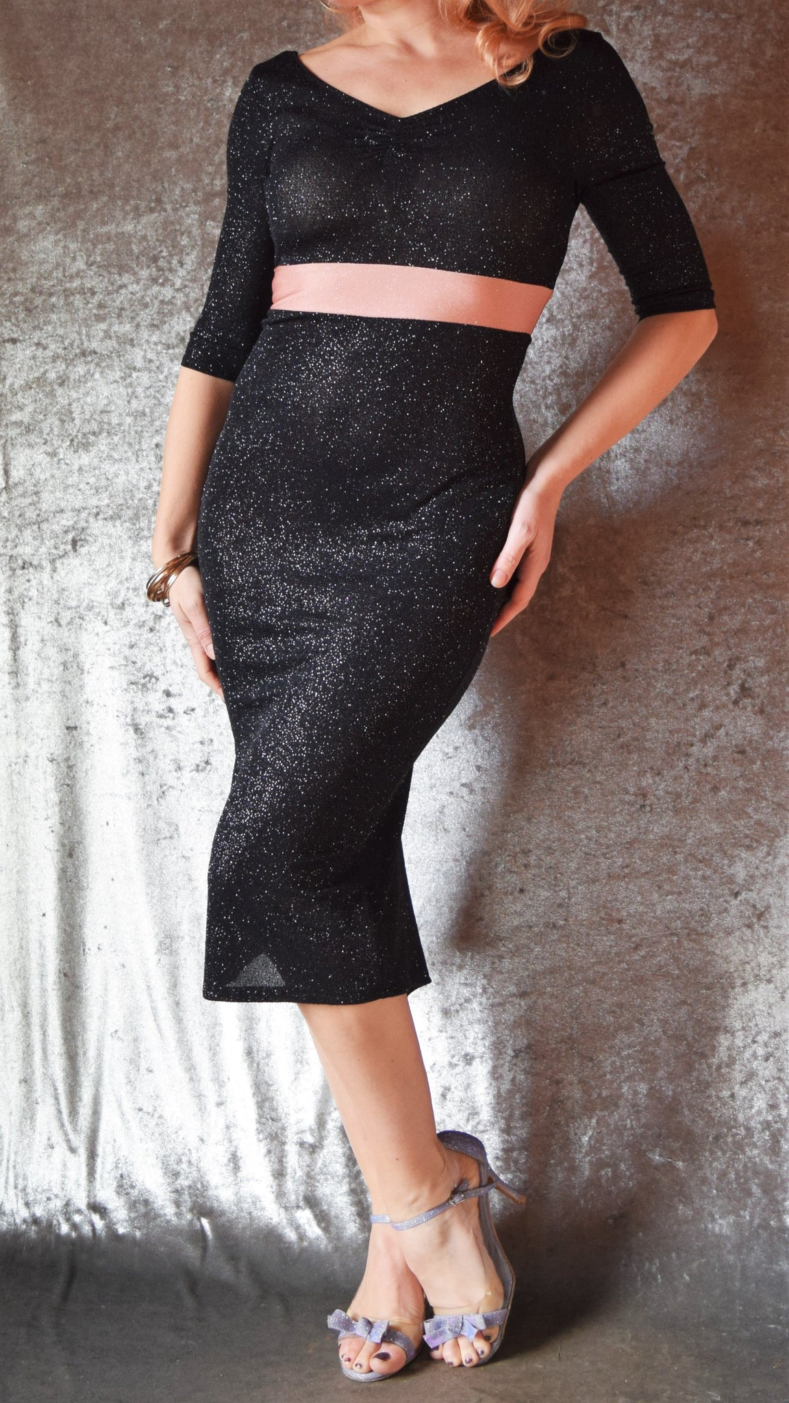 Black Glitter Slinky 3/4 Sleeve Wiggle Dress with Ruched Neckline and Blush Waistband - Choose Your Size