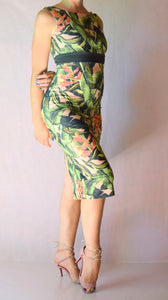 Tropical Peach Palm Print Wiggle Dress with High Neck - Choose Your Size