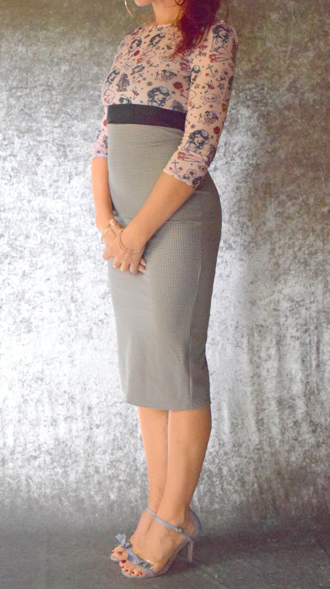 Steam Punk Tattoo Long Sleeve Wiggle Dress - Choose Your Size