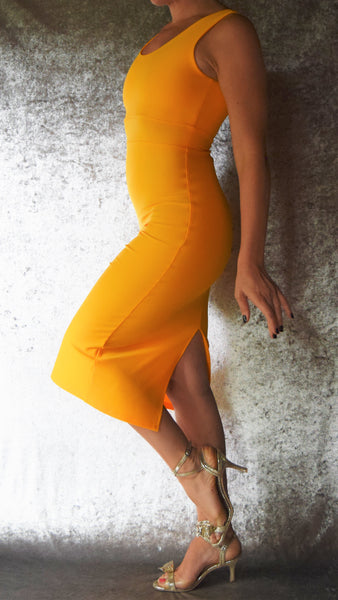 Daffodil Yellow Scoop Neckline Wiggle Dress - Choose Your Size