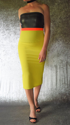 Neon Yellow Pique Pencil Skirt with Back Slit - Choose Your Size