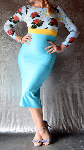 Aqua and Yellow Flowers High Neckline Wiggle Dress with Sleeves - Choose Your Size