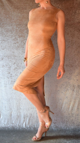 Tan Sueded Finish Punched Fabric Wiggle Dress - Choose Your Size