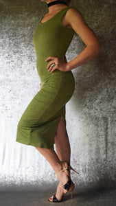 Olive Glitter Scoop Neck Wiggle Dress - Choose Your Size