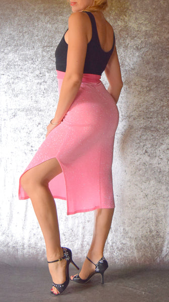 Baby Pink Glitter Slinky Skirt with Side Slits - Choose Your Size