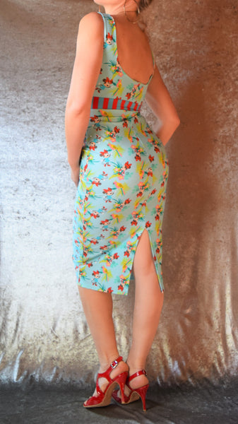 Cute Tropical Mouse Print Wiggle Dress with High Neck and Striped Waistband - Choose Your Size