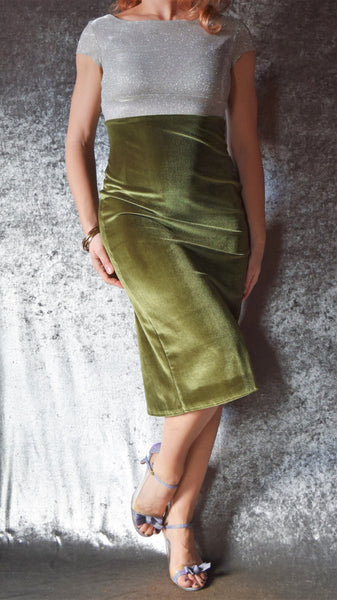 Glittery Iridescent Golden Silver Sparkle Cap Sleeve High Neckline Top with Velvet Godet Back Dress - Choose Your Size and Color
