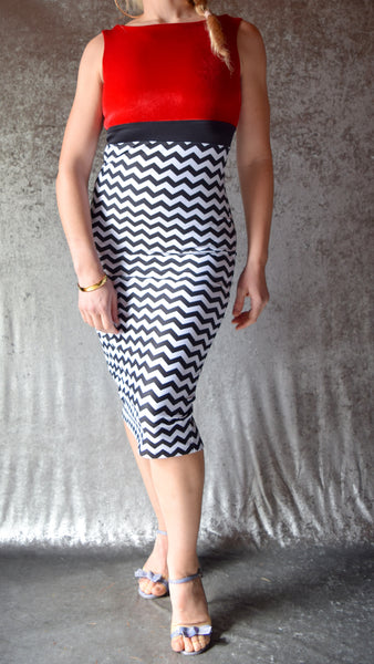 Chevron Striped High Neckline Wiggle Dress with Red Velvet Top - Choose Your Size