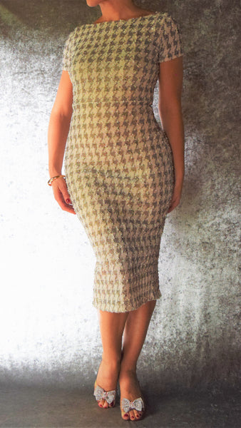 Cream Boucle Houndstooth High Neckline Wiggle Dress with Gold and Sequin Accents - Choose Your Size