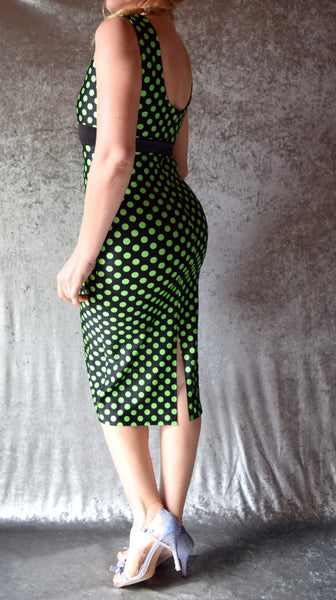 Polka Dot High Neck Wiggle Dress - Choose Your Size and Colors