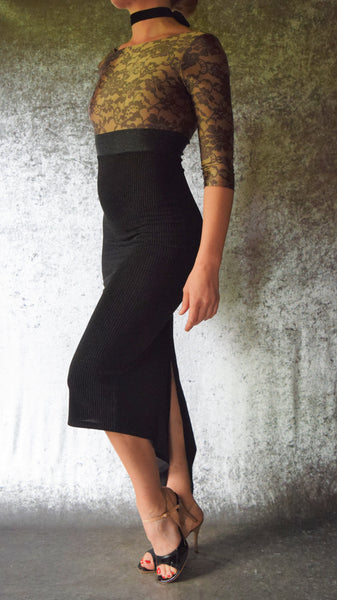 Lace Print and Black Pinstripe Long Sleeve Fishtail Dress - Choose Your Size