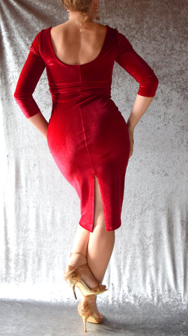 Scoop Neck Velvet Wiggle Dress with Sleeves - Choose Your Color and Size