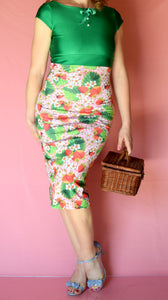 Strawberry Patch Wiggle Dress with Bow and Buttons - Choose Your Size