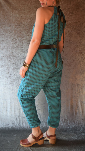 Turquoise and Brown Houndstooth Romper - Maleva Lounge - One-of-a-Kind Size Medium/Large