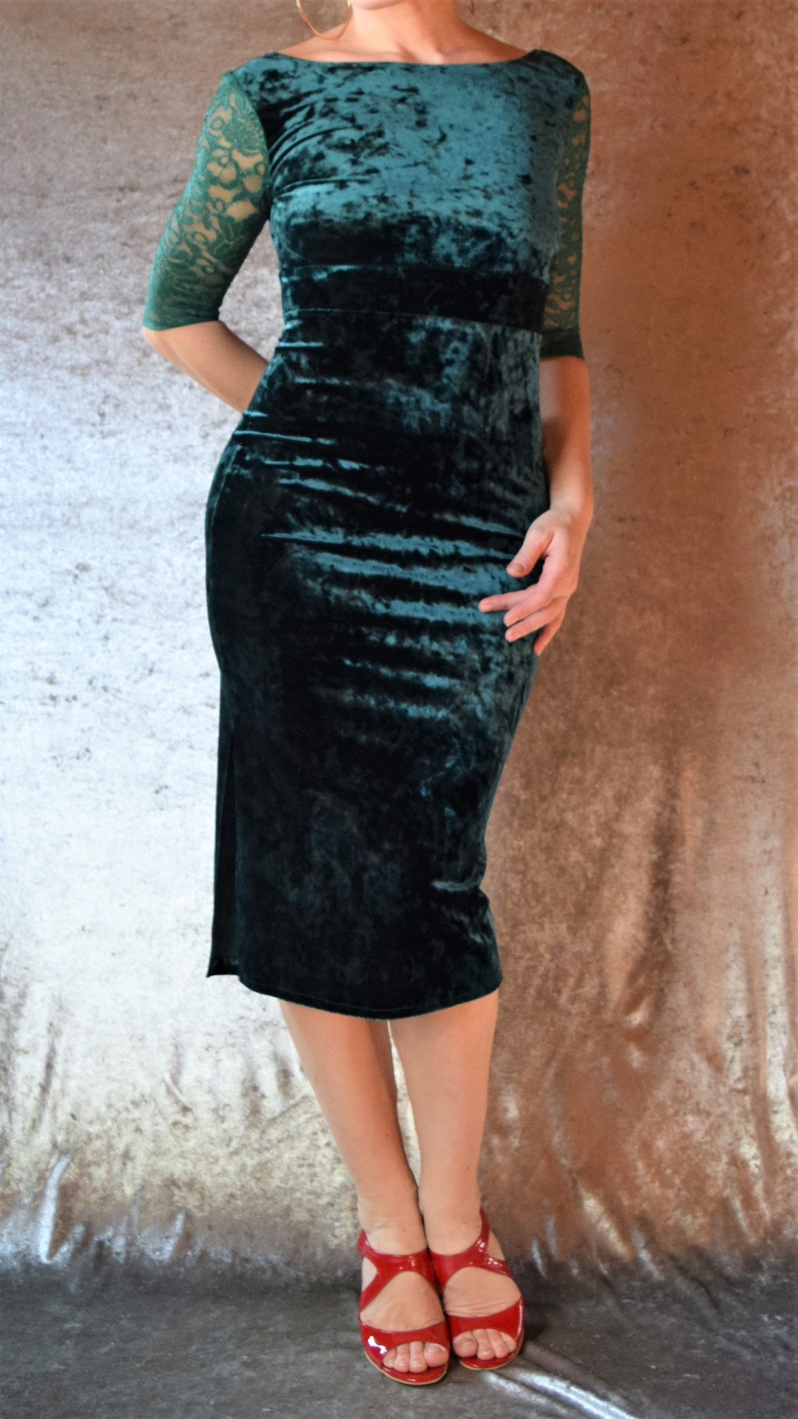 Crushed Velvet High Neckline Dress with Side Slit and Lace Sleeves - Choose Your Size and Color