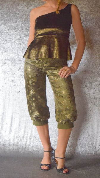 Olive Green and Gold Brocade Cropped Harem Pants - One of a Kind