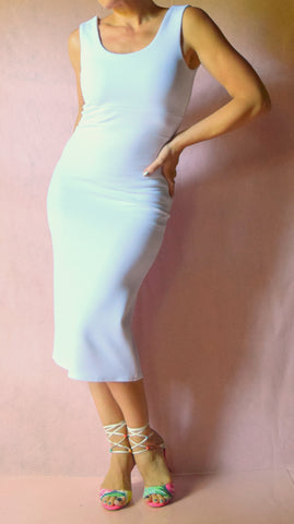White Pique Scoop Neck Wiggle Dress - Choose Your Size