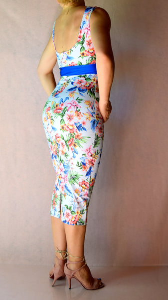 White and Sapphire Blue Tropical Wiggle Dress with High Neck - Choose Your Size