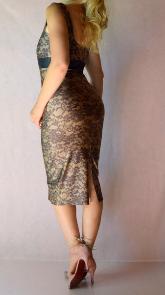 Black and Tan Lace Print High Neckline Wiggle Dress - Choose Your Size