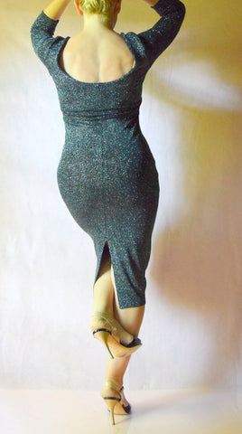 Glitter Slinky Scoop Neck Long Sleeve Wiggle Dress - Choose Your Size and Color