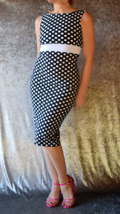 Polka Dot High Neck Wiggle Dress - Choose Your Size and Color