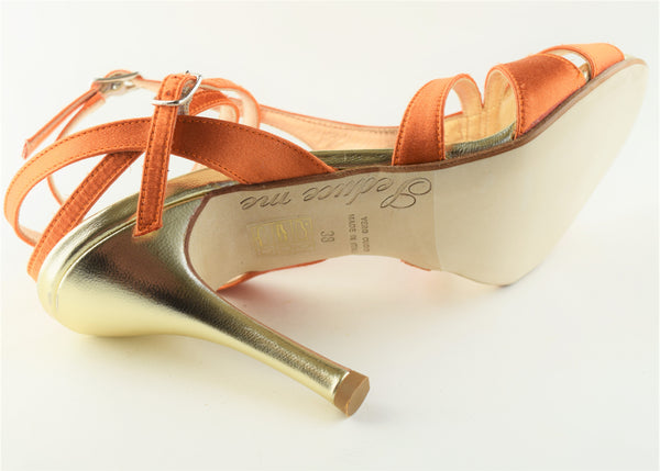 Size 8 - Recoleta Twins in Tangerine Silk with Gold - Regina
