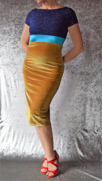 Blue Glitter and Gold Velvet Wiggle Dress with Cap Sleeves - Choose Your Size