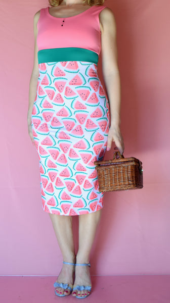 Watermelon Wiggle Dress with Jet Seed Buttons - Choose Your Size