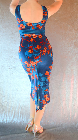Teal and Orange Floral Print Velvet High Neckline Wiggle Dress - Choose Your Size